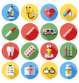 digital red yellow blue medical icons vector image vector image