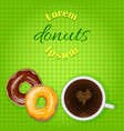 Doughnuts and coffee bakery or cafe banner vector image