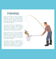 fishing with tackle and landing net for fish catch vector image vector image