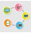 Five step round icon infographic Online shopping vector image