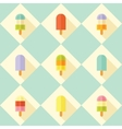 Flat seamless pattern with popsicles vector image vector image