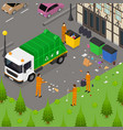 garbage recycling card poster concept 3d isometric vector image vector image