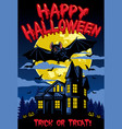 halloween design with bat and hanted house vector image vector image
