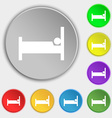 Hotel Icon sign Symbol on eight flat buttons vector image