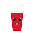 isolated happy soda emote vector image