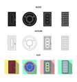 isolated object of door and front icon set of vector image vector image