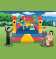 kids playing in a bouncy house vector image