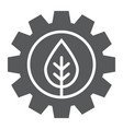 leaf in gear glyph icon ecology lamp and energy vector image vector image