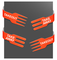 left and right side signs - takeout and takeaway vector image vector image