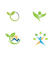 logos of green tree leaf nature vector image