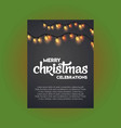 merry christmas glowing light on black background vector image vector image