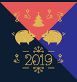 modern happy new year card - 2019 year pig vector image vector image