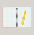 open notebook with yellow pen vector image