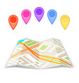 paper city street map icon folded urban place flat vector image