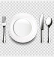 plate and cutlery on white table isolated vector image