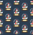 pug in christmas costume in snowball seamless vector image vector image