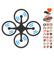 quadcopter screw rotation icon with lovely bonus vector image vector image