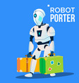 robot porter carries a lot of luggage vector image vector image