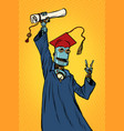 robot student graduate of a university or college vector image