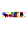 sale banner and multicolored design elements vector image