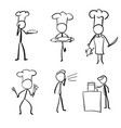 set chef cook and present food stick vector image