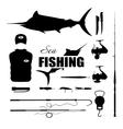 Set items fisherman Sea fishing vector image vector image