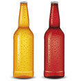 set of glass beer cider bottles isolated vector image