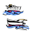 set of hand drawn yacht vector image