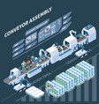 smart assembly line isometric composition vector image vector image