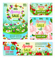 spring sale best price offer banner with flowers vector image