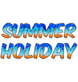 summer holiday text with water and sand concepts vector image