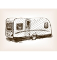 Travel trailer hand drawn sketch vector image