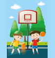 two boys playing basketball in court vector image