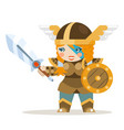 valkyrie female warrior fantasy medieval action vector image vector image