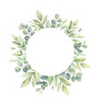 watercolor frame green branches and vector image