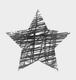 white drawn star on black background vector image vector image