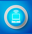 white laptop and wireless icon wi-fi connection vector image