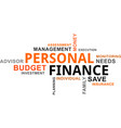 word cloud - personal finance vector image vector image