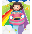 A girl driving her pink car vector image vector image