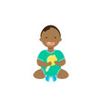 african baby boy with toy rattle full length vector image