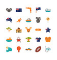 australia animal things famous sites icons set on vector image