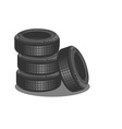 Brand new tires on white background vector image