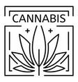 cannabis drug eco leaf logo outline style vector image vector image