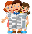 cartoon children reading a newspaper vector image vector image