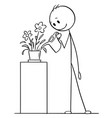 Cartoon drawing of man watering plant in pot or