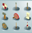 castle color isometric icons vector image vector image