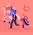 cheerful shopaholic couple with trolley full of vector image vector image