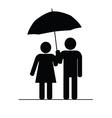 couple icon with umbrella vector image vector image