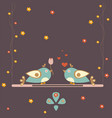 cute bird couple celebrating valentines day vector image