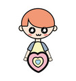 cute boy with heart and hairstyle design vector image vector image